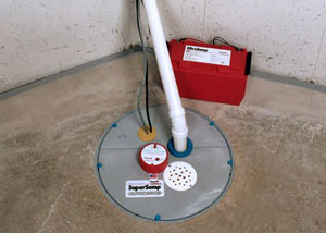 A sump pump system with a battery backup system installed in Agawam