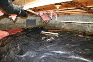 Crawl Space Repair Before in Worcester