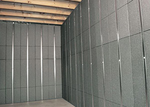 SilverGlo™ insulation and metal studs making up our Basement to Beautiful panels.  Installed in Leominster.